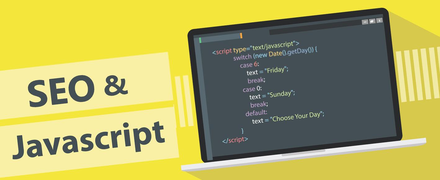 Надпись SEO и Javascript на желтом фоне с изображением кода на ноутбуке